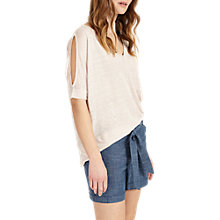 Buy Phase Eight Eveline Cold Shoulder Linen Jumper, Soft Pink Online at johnlewis.com