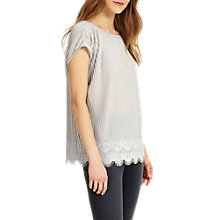 Buy Phase Eight Pat Pleated Top, Silver Online at johnlewis.com