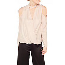 Buy Miss Selfridge Choker Wrap Blouse, Nude Online at johnlewis.com