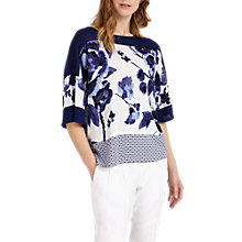 Buy Phase Eight Mollie Floral Printed Linen Jumper, Blue/White Online at johnlewis.com