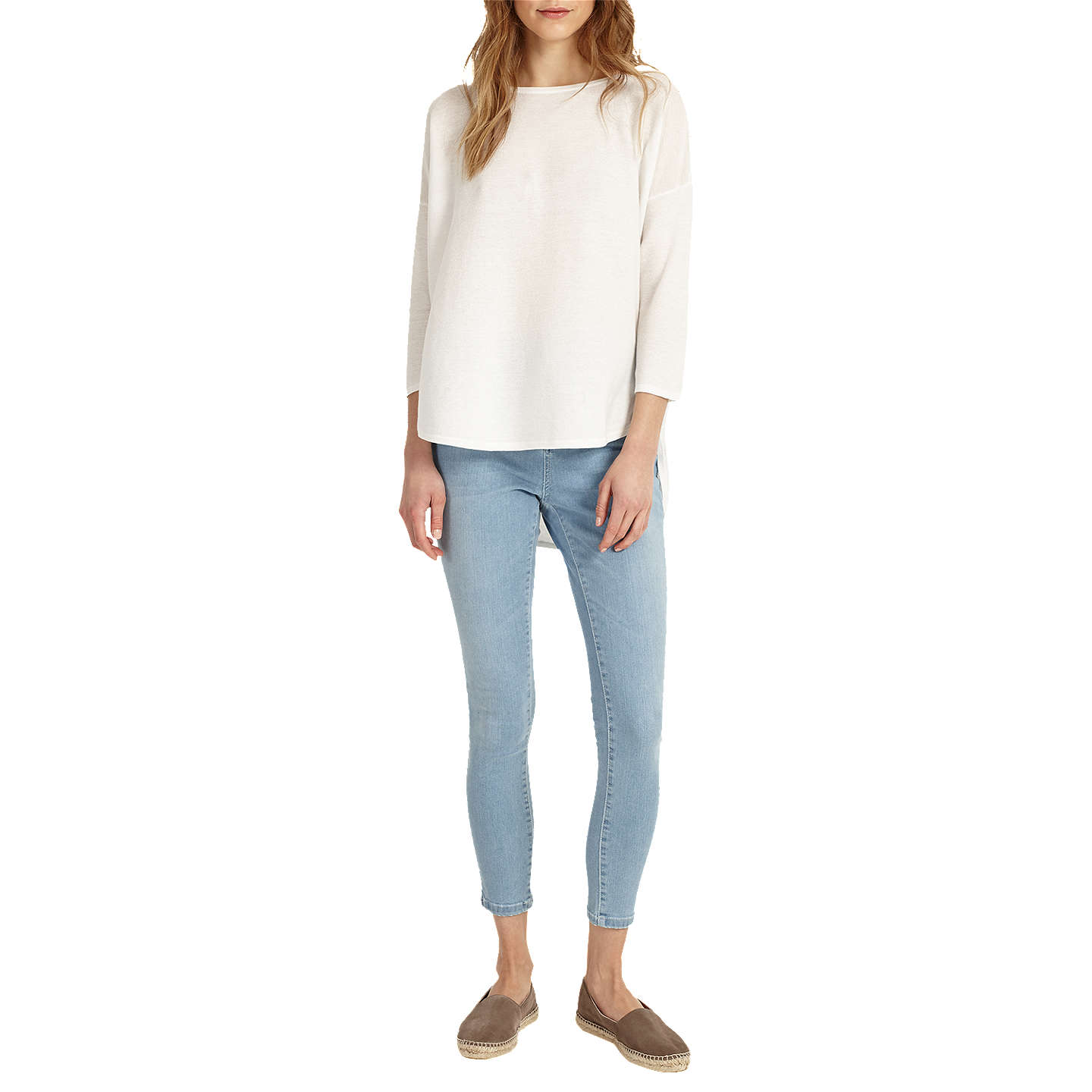 BuyPhase Eight Megg Curve Hem Jumper, Ivory, XS Online at johnlewis.com