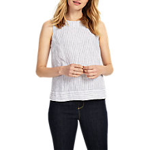 Buy Phase Eight Lorna Stripe Sleeveless Linen Blouse, Ivory/Navy Online at johnlewis.com