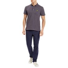Buy Lyle & Scott Woven Button Collar Polo Shirt, Washed Grey Online at johnlewis.com