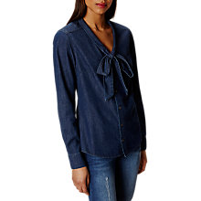 Buy Karen Millen Bow Shirt, Denim Online at johnlewis.com