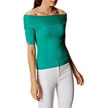 Buy Karen Millen Bardot Rib Top, Jade Online at johnlewis.com