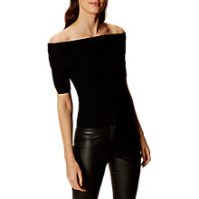 Buy Karen Millen Bardot Ribbed Top, Black Online at johnlewis.com
