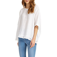 Buy Phase Eight Rita Ruffle Hem Linen Blouse, White Online at johnlewis.com