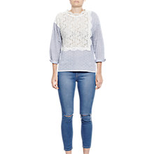 Buy French Connection Oni Lace Mix Shirt, Summer White/Blue Online at johnlewis.com