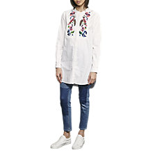 Buy French Connection Rothko Cotton Long Sleeve Shirt, Summer White/Multi Online at johnlewis.com