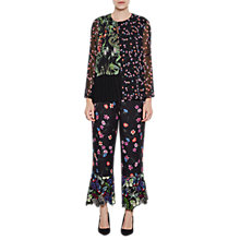 Buy French Connection Bluhm Botero Sheer Fluted Sleeved Blouse, Black/Multi Online at johnlewis.com