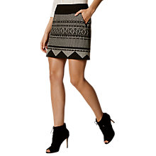 Buy Karen Millen Aztec A-Line Skirt, Black/Multi Online at johnlewis.com