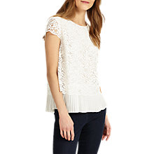 Buy Phase Eight Lexie Pleated Lace Blouse, Ivory Online at johnlewis.com