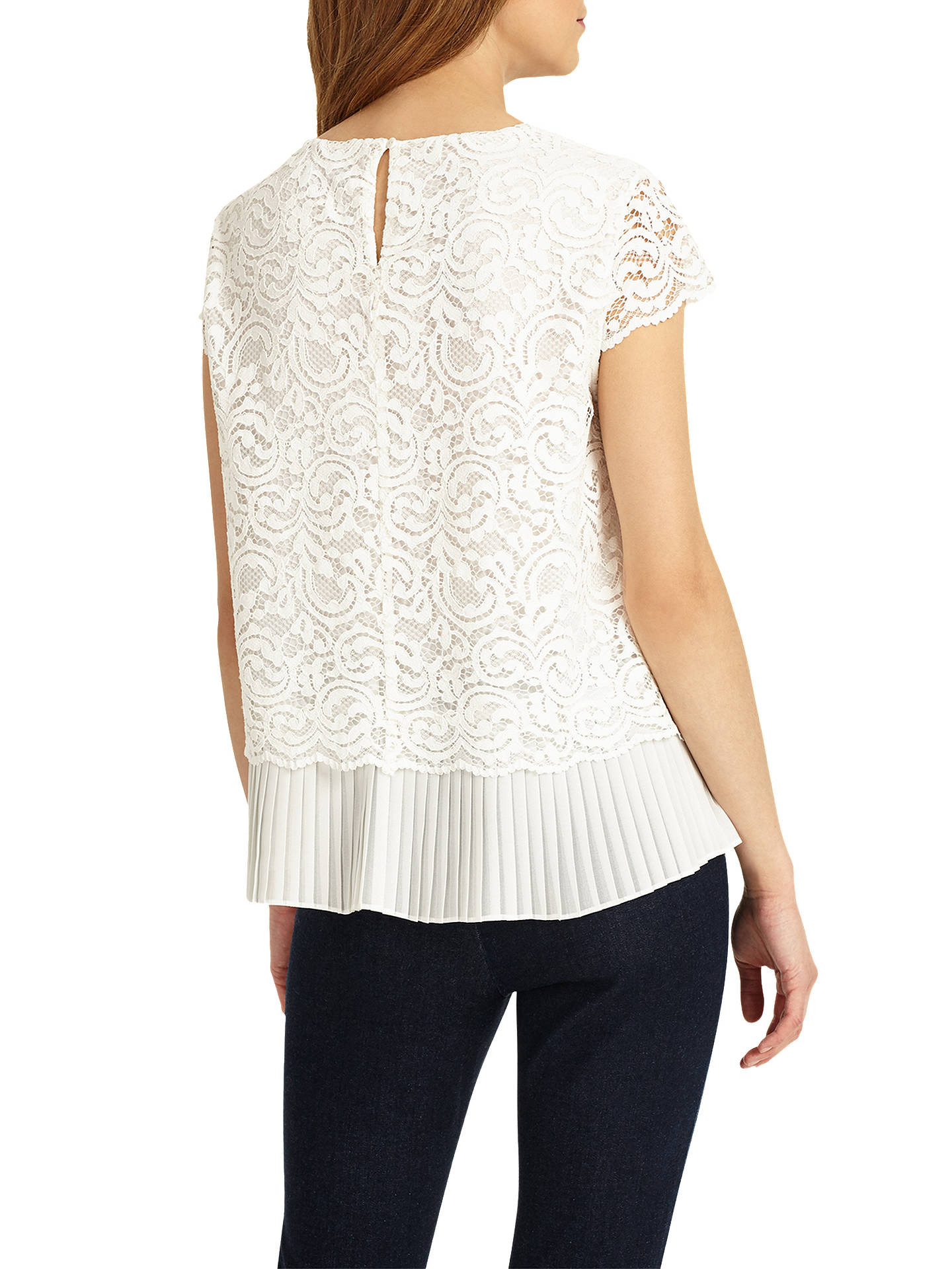 465de3443c3446 ... Buy Phase Eight Lexie Pleated Lace Blouse, Ivory, 8 Online at  johnlewis.com ...