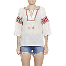 Buy French Connection Adanna Crinkle Embroidered Smock Top, Summer White/Multi Online at johnlewis.com