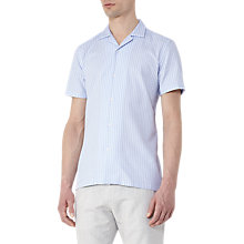 Buy Reiss Vixen Textured Stripe Short Sleeve Shirt, Light Blue/White Online at johnlewis.com
