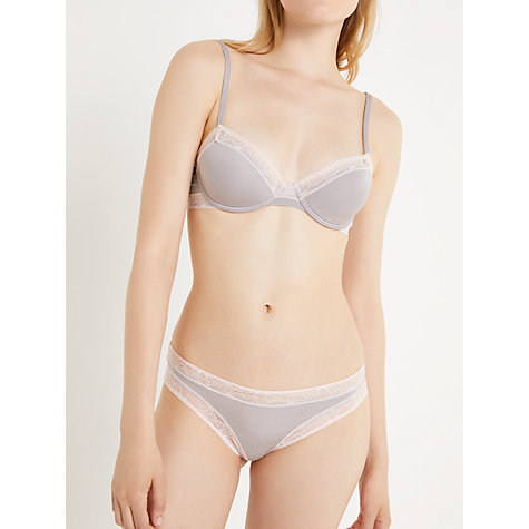 Buy AND/OR Phoebe Lace Trim T-Shirt Bra, Grey Online at johnlewis.com