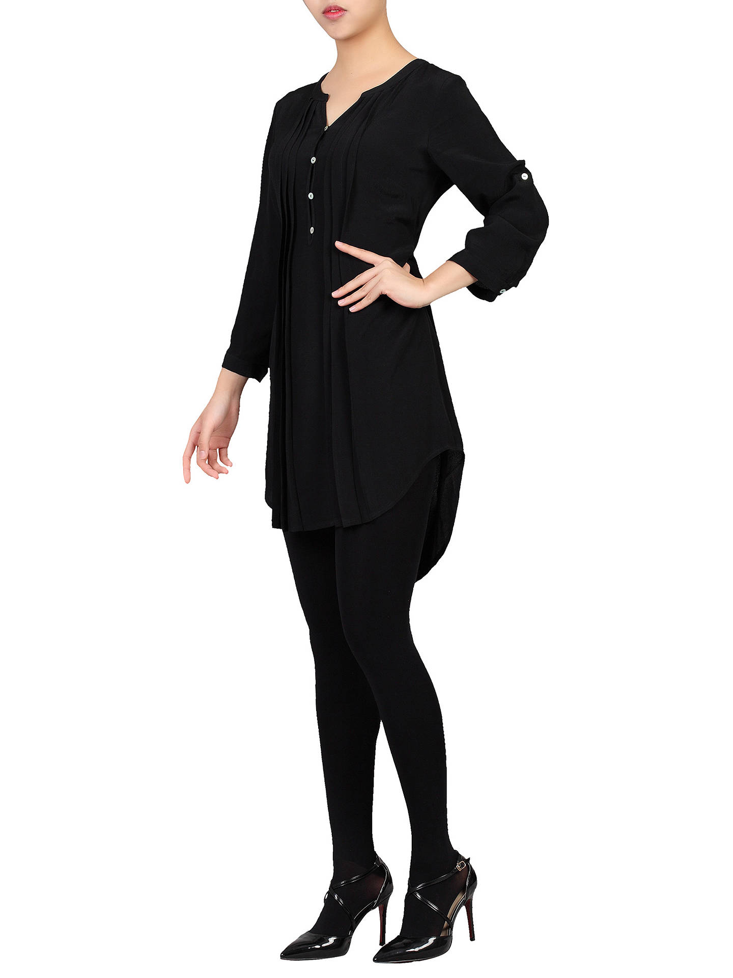 BuyJolie Moi Button Front Pleated Tunic, Black, 20 Online at johnlewis.com