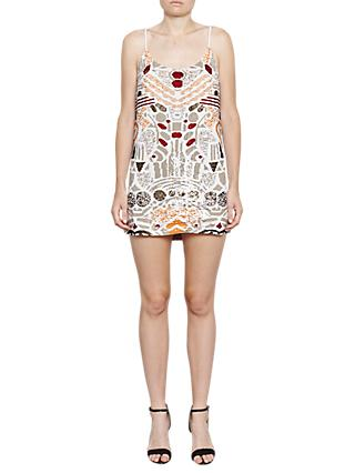 French Connection Adanya Shine Sequinnned Slip Dress, Camber Sands Multi