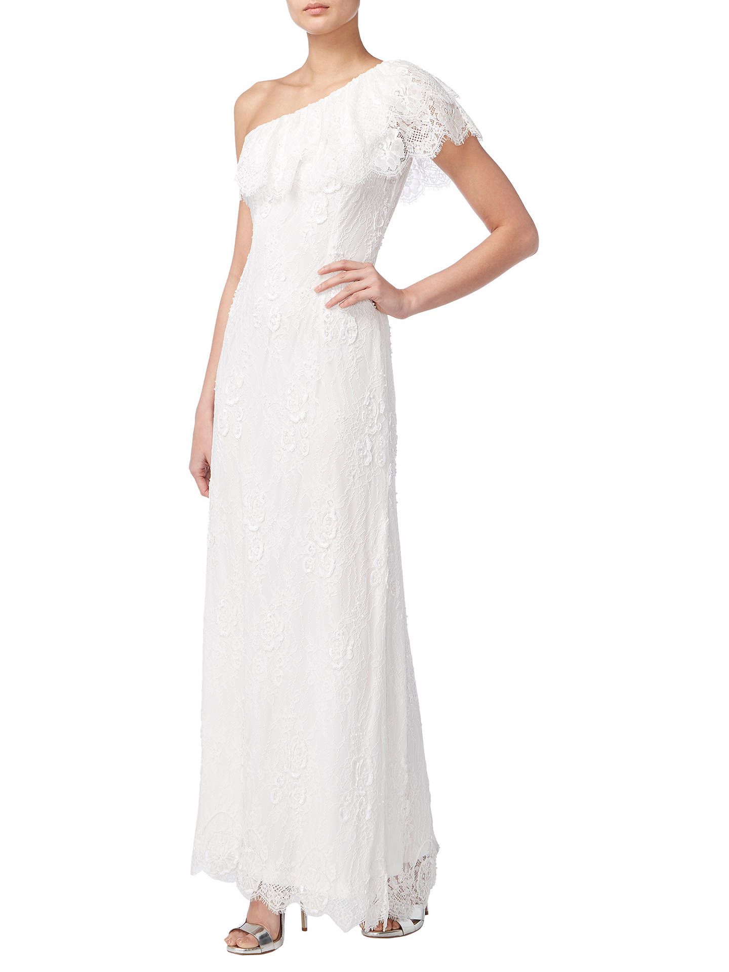BuyRaishma One Shoulder Beaded Bridal Gown, Ivory, 8 Online at johnlewis.com