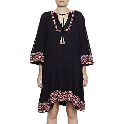 French Connection Adanna Crinkle Embroidered Smock Dress, Utility Blue Multi