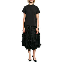 Buy French Connection Agnes Floral Applique Midi Skirt, Black Online at johnlewis.com