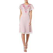 Buy Raishma Floral Embroidered Angel Sleeve Dress, Mauve Online at johnlewis.com