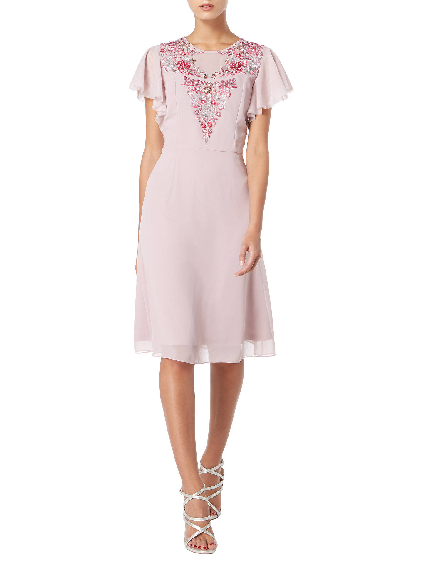 Buy Raishma Floral Embroidered Angel Sleeve Dress, Mauve, 8 Online at johnlewis.com