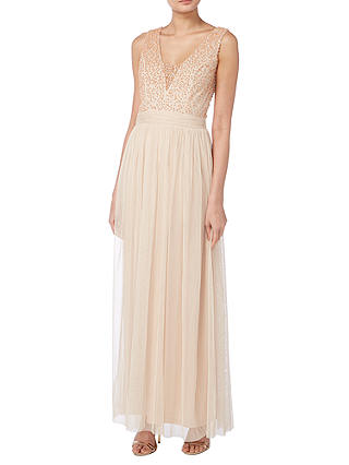 Buy Raishma Pearl Beaded Bodice Gown, Blush, 8 Online at johnlewis.com