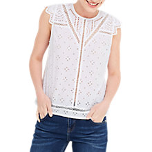 Buy Oasis Broderie Shell Top, White Online at johnlewis.com