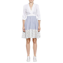 Buy French Connection Oni Lace Mix Flared Cotton Dress, Summer White/Blue Online at johnlewis.com
