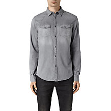 Buy AllSaints Roxon Slim Fit Denim Shirt, Light Grey Online at johnlewis.com