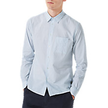 Buy Jigsaw Italian Stripe Pocket Cotton Linen Shirt, Blue Online at johnlewis.com