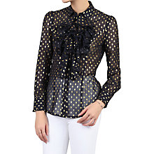 Buy Jolie Moi Chiffon Polka Dot Shirt, Navy Online at johnlewis.com