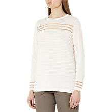 Buy Reiss Corinne Sheer Stripe Knit Jumper, Off White Online at johnlewis.com