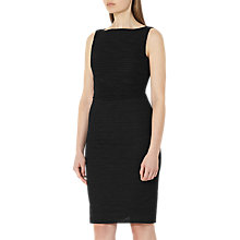 Buy Reiss Palmero Plisse Fitted Dress, Black Online at johnlewis.com