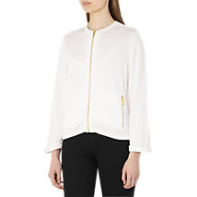 Buy Reiss Mildred Full Zip Knitted Bomber Jacket, White Online at johnlewis.com