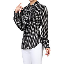 Buy Jolie Moi Chiffon Polka Dot Shirt, Black Online at johnlewis.com