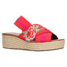 Buy Kurt Geiger Blossom Wedge Heel Sandals, Red Online at johnlewis.com