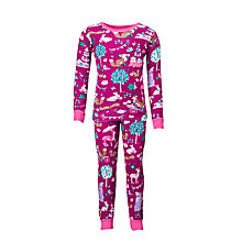 Buy Hatley Baby Woodland Tea Party Long Sleeve Pyjamas, Burgundy Online at johnlewis.com