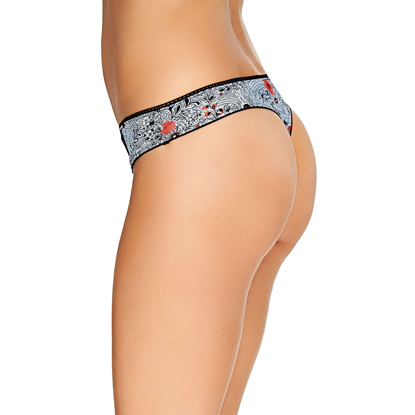 BuyFreya Etched Escape Thong, Monochrome, S Online at johnlewis.com