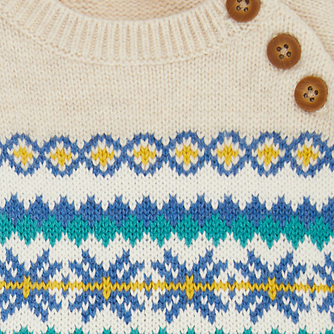 Buy John Lewis Baby Fair Isle Jumper, Cream | John Lewis
