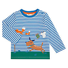 Buy John Lewis Baby Chasing Dog T-Shirt, Blue/White Online at johnlewis.com