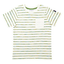 Buy Polarn O. Pyret Boys' Brushed Striped T-Shirt, Cream Online at johnlewis.com