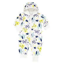 Buy Polarn O. Pyret Baby Zebra Zip Playsuit, White Online at johnlewis.com