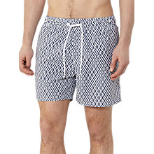 Buy Reiss Oliver Geometric Print Swim Shorts, Navy/White Online at johnlewis.com