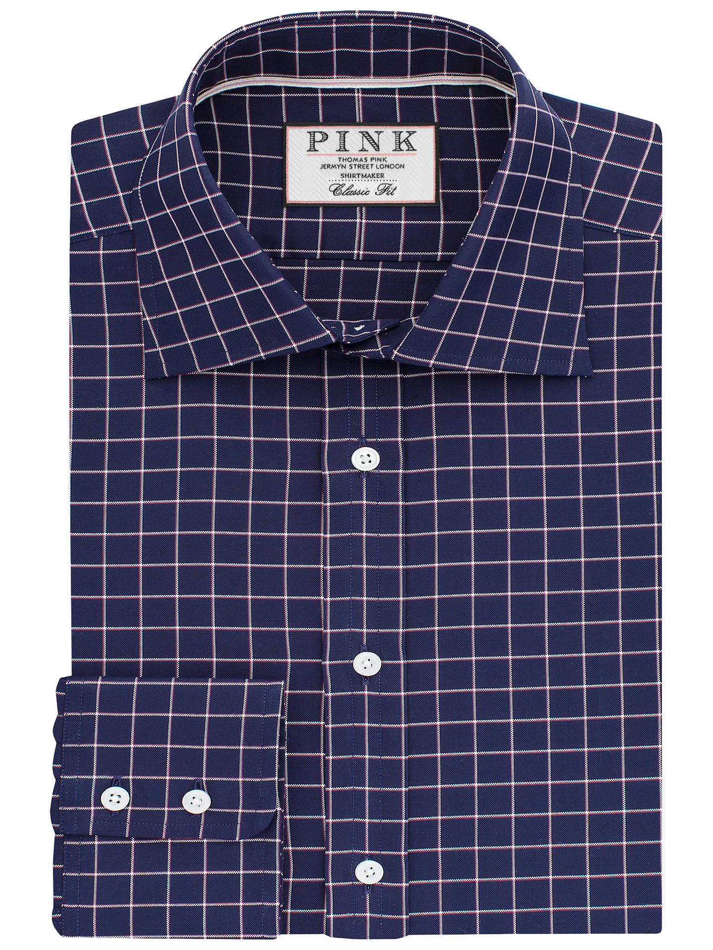 37e01c50 Buy Thomas Pink Hadley Check Classic Fit Shirt, Navy/White, 14.5 Online at  ...