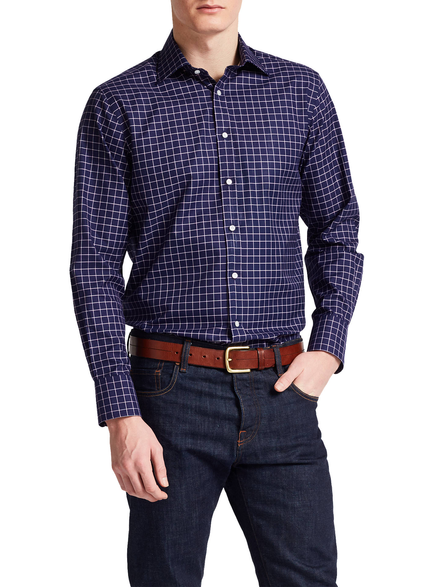 290f3bec ... Buy Thomas Pink Hadley Check Classic Fit Shirt, Navy/White, 14.5 Online  at ...