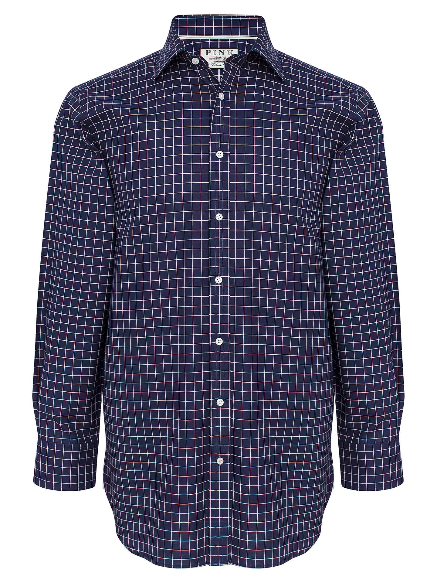 71d6e09b ... Buy Thomas Pink Hadley Check Classic Fit XL Sleeve Shirt, Navy/White, 15