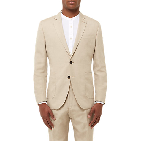Buy Jaeger Silk Linen Regular Fit Suit Jacket, Straw | John Lewis