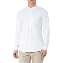 Buy Reiss Harvey Pique Grandad Collar Shirt, White Online at johnlewis.com